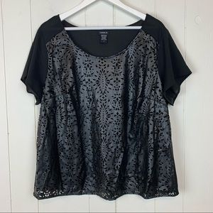 Torrid Leather Cutout Overlay Blouse Top Black 2X